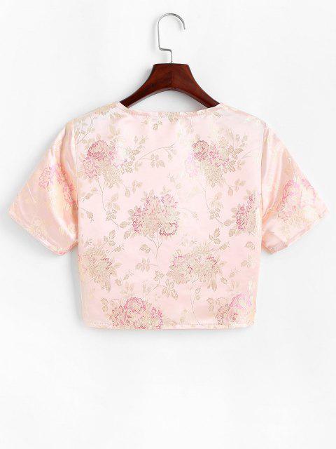 women's Floral Jacquard Tie Front Oriental Top - LIGHT YELLOW S Mobile