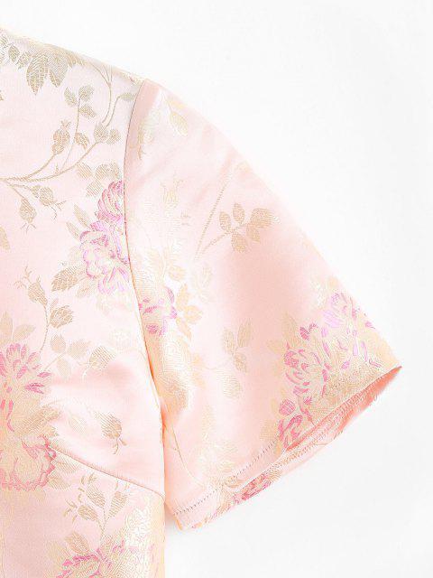Blumen Jacquard Orientalicher Top - Hellgelb M Mobile