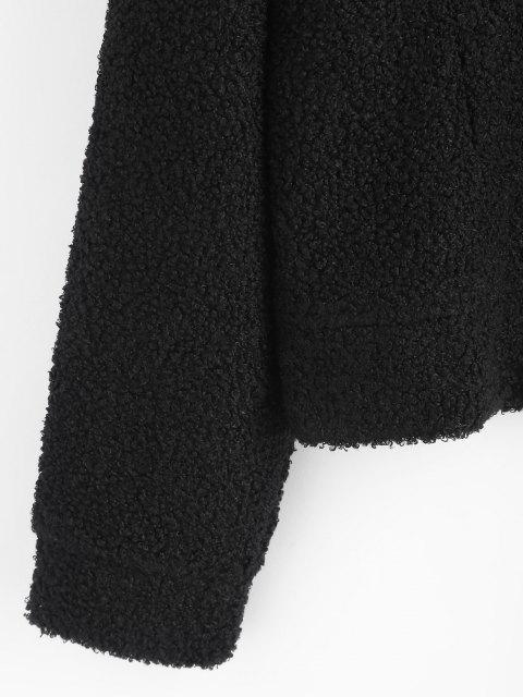 Manteau à Carreaux Détaillé en Fausse Fourrure à Rabat - Noir L Mobile
