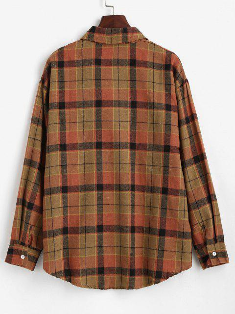 shops Plaid Front Pocket Flannel Shirt - COFFEE S Mobile