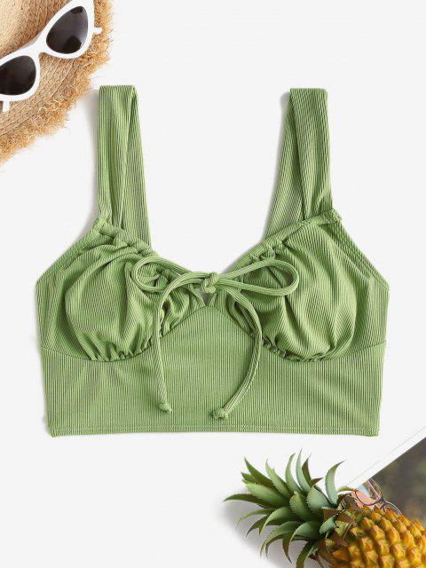 ZAFUL Ribbed Tie Bustier Bikini Top - اخضر فاتح S Mobile