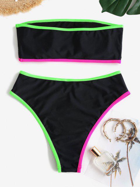 ZAFUL Bikini Bandeau con Ribete en Contraste - Negro M Mobile