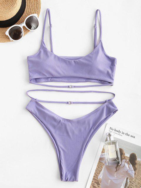 women ZAFUL Ribbed Cutout High Cut Bikini Swimwear - LIGHT PURPLE S Mobile