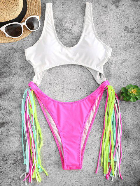 lady ZAFUL Colorblock Cutout Fringed One-piece Swimwear - DEEP PINK S Mobile
