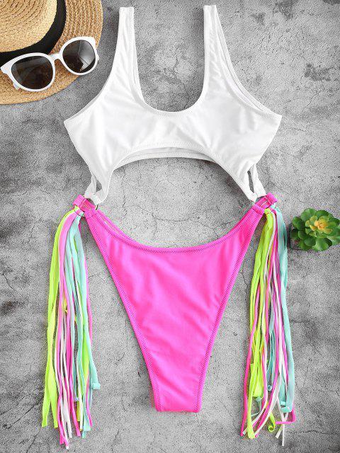 best ZAFUL Colorblock Cutout Fringed One-piece Swimwear - DEEP PINK M Mobile