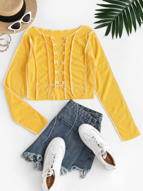 Camiseta Rugosa Enlaçada com Contraste - Amarelo Brilhante S Mobile