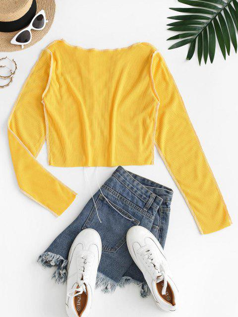 best Contrast Stitching Lace Up Ribbed Tee - BRIGHT YELLOW M Mobile