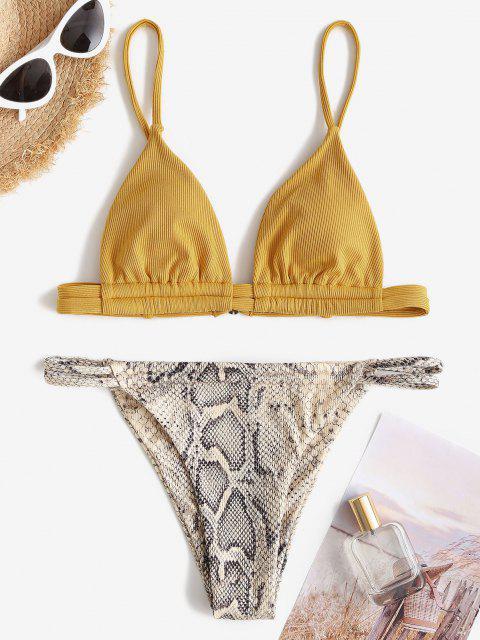 ZAFUL Bikini Badebekleidung mit Gerippten Schlangenmuster - Dunkel gelb S Mobile