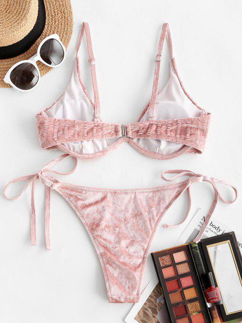 Costume da Bagno Bikini in Velluto con Lacci Laterali di ZAFUL - Rosa chiaro L Mobile
