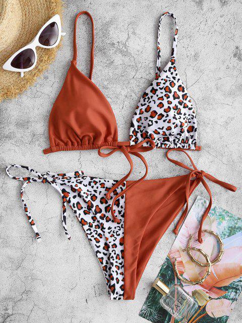 Bikini de Bañador de Dos Colores ZAFUL con Estampado de Leopardo - Caoba S Mobile