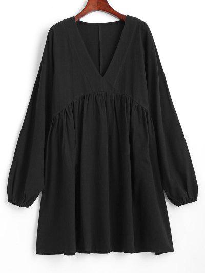 Dolman Sleeve A Line Smock Dress - Black S