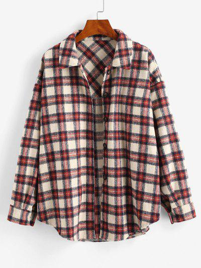 Checked Wool Blend Coat - Deep Red Xl
