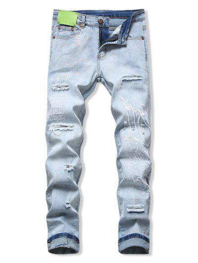 Rhinestone Letters Embroidered Ripped Jeans - Light Blue 38