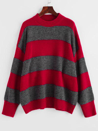 Drop Shoulder Oversized Colorblock  Sweater - Red