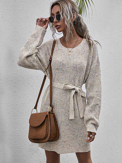 Mini Robe Pull Chinée Ceinturée - Multi-a L