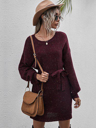 Belted Heathered Mini Sweater Dress - Red Wine L