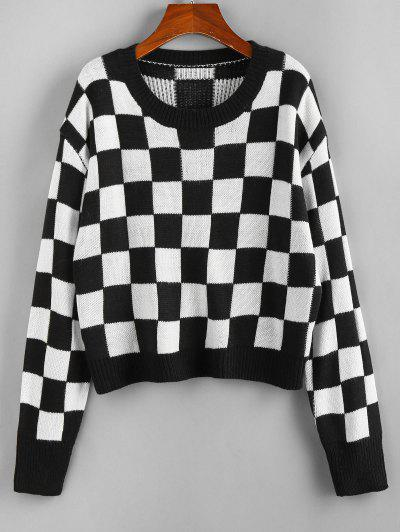 ZAFUL Checkered Drop Shoulder Ribbed Trim Sweater - Black S