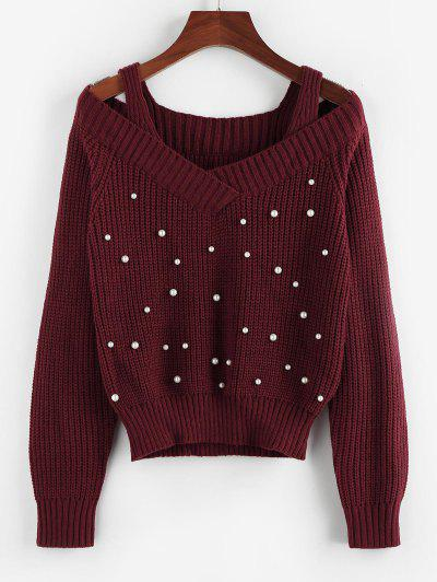 ZAFUL Cold Shoulder Beaded Cutout Sweater - Deep Red M