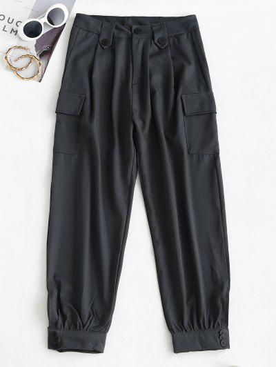 Pantalones De Carga Ajustados De Cintura Alta Con Bolsillos - Gris Oscuro M