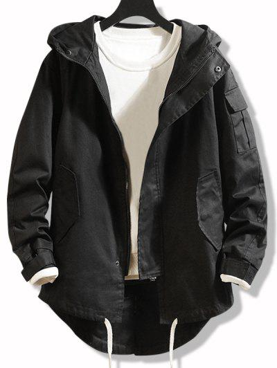 High Low Multi-pocket Hooded Jacket - Black Xs