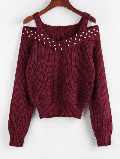ZAFUL Faux Pearl Embellished Cold Shoulder Jumper Sweater - Deep Red S