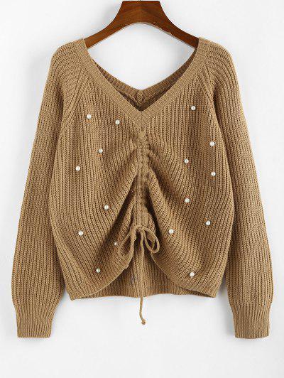 ZAFUL Beading Cinched Raglan Sleeve V Neck Sweater - Light Coffee L