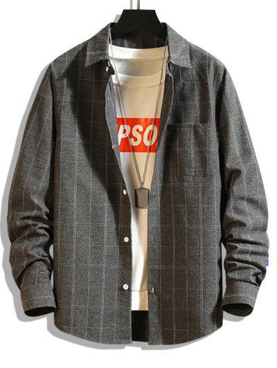 Windowpane Check Print Pocket Patch Shirt - Carbon Gray Xs