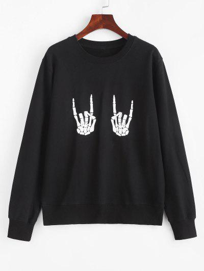 Halloween Skeleton Hand Pullover Sweatshirt - Black S