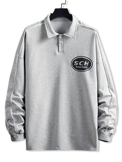 Letter Print Pullover Sweatshirt - Light Gray 3xl