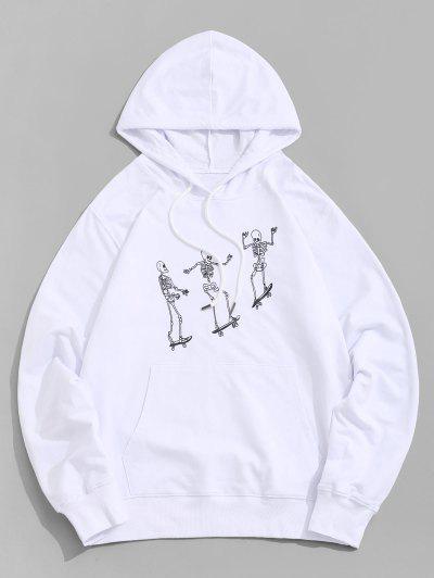 Skeleton Skater Print Kangaroo Pocket Hoodie - White M