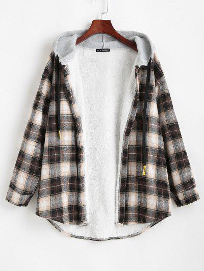 チェック柄ボタン付き湾曲した裾フード付きコート - 黒 M