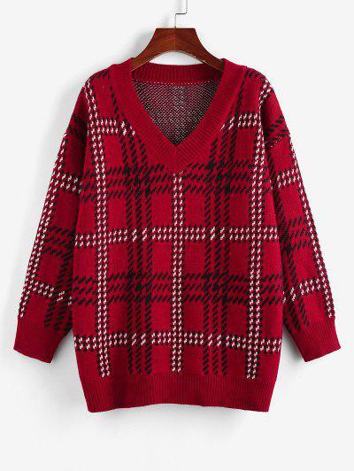 ZAFUL V Neck Drop Shoulder Plaid Sweater - Red M