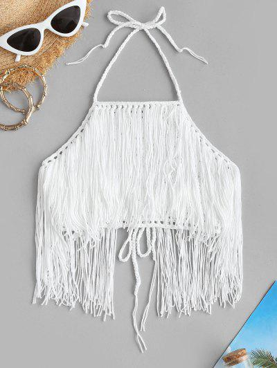 High Neck Crochet Fringed Bikini Top - White