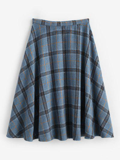 ZAFUL Plaid Tartan Wool Blend Swing Skirt - Deep Blue S