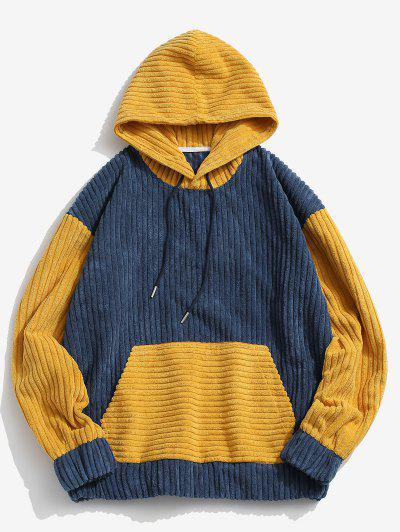 Two Tone Front Pocket Corduroy Hoodie - Blue Xl