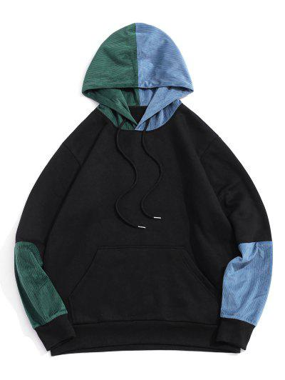 Colorblock Panel Fleece Lined Hoodie - Black 2xl