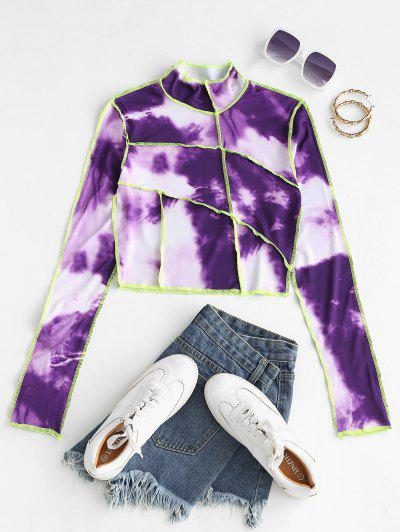 Tie Dye Neon Topstitch Trim Baby Tee - Purple M