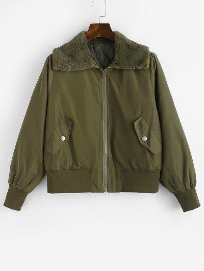 Quilted Faux Shearling Collar Zip Up Coat - Green M