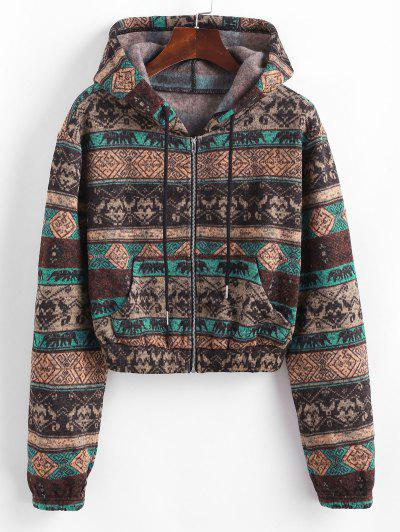 ZAFUL Ethnic Knit Fleece Lined Zip Hoodie - Multi-a S