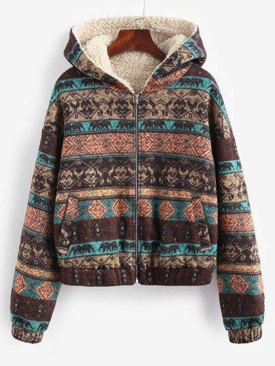 ZAFUL Hooded Ethnic Knit Pocket Teddy Lined Jacket - Multi-a M