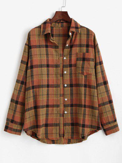Plaid Front Pocket Flannel Shirt - Coffee M
