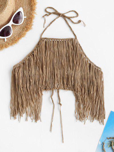 High Neck Crochet Fringed Bikini Top - Camel Brown