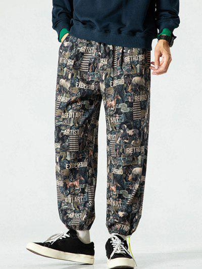 Allover Letter Animal Figure Pattern Pants - Multi-a 3xl