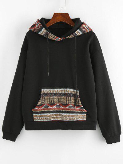 ZAFUL Retro Kangaroo Pocket Tribal Print Hoodie - Black M