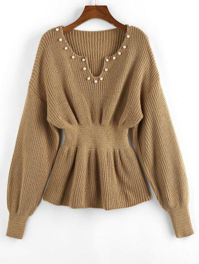 ZAFUL Beading Drop Shoulder Smocked Sweater - Light Coffee M