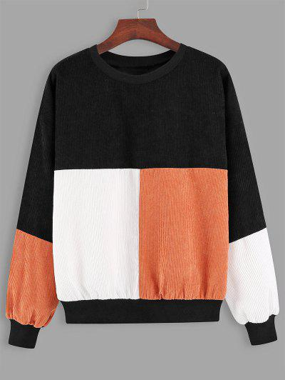 Loose Colorblock Corduroy Sweatshirt - Black M