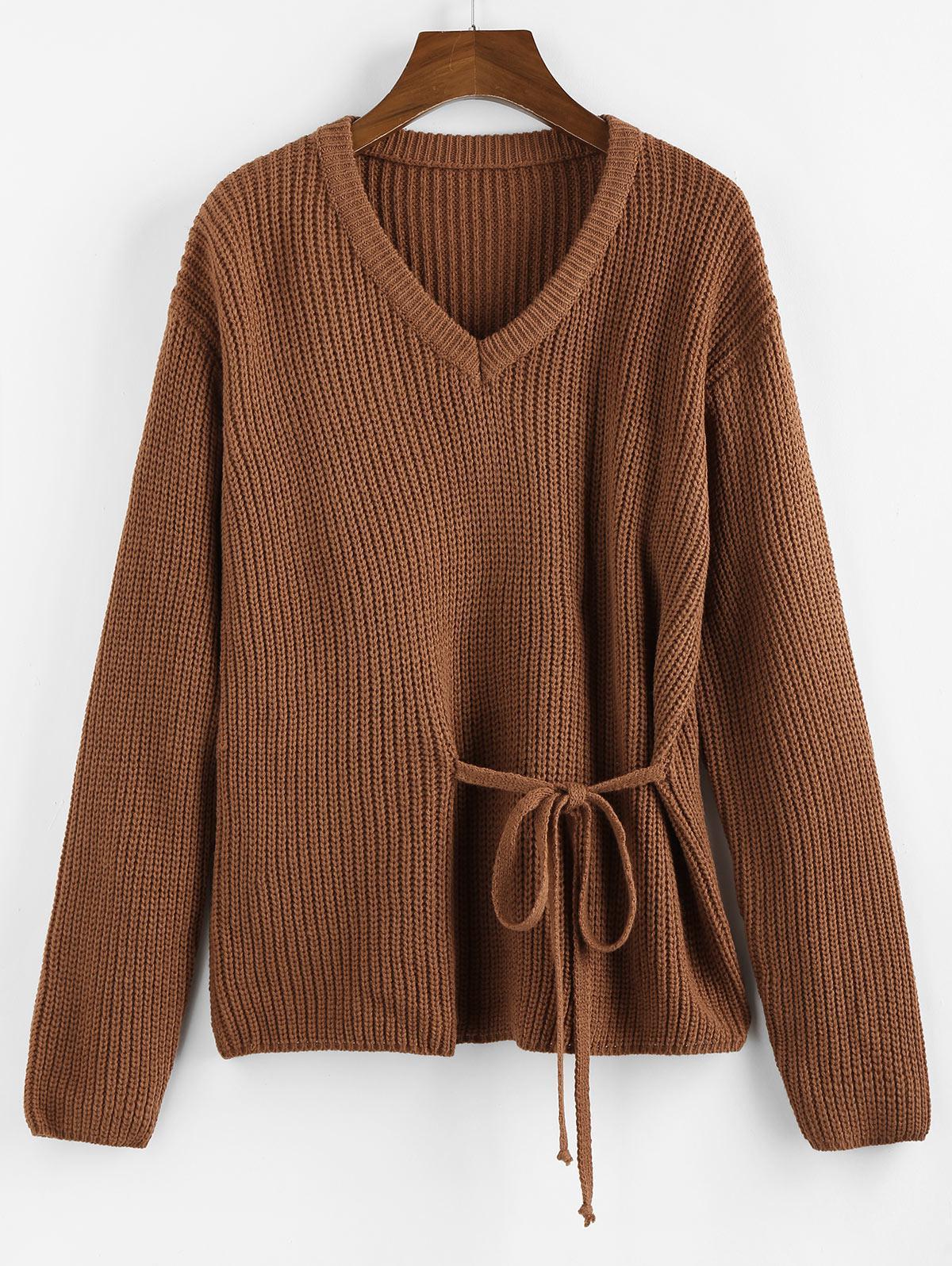 Zaful V Neck Ties Sweater