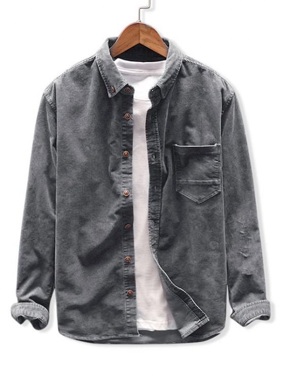الصلبة قميص اللون جيب سروال قصير - الرمادي الداكن 3XL