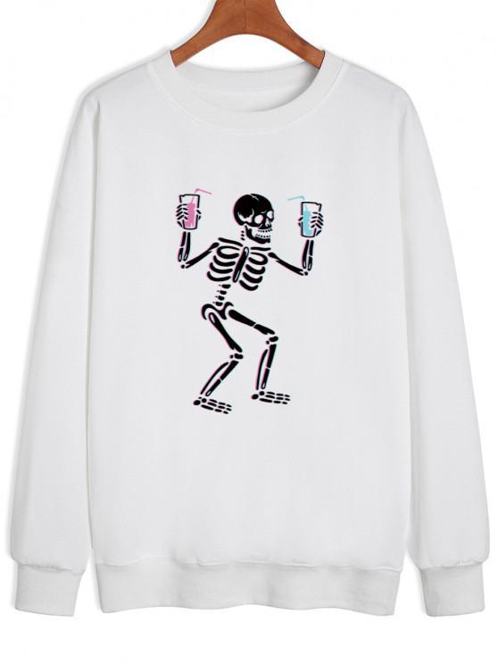 outfit Skeleton Drinking Print Drop Shoulder Sweatshirt - WHITE S