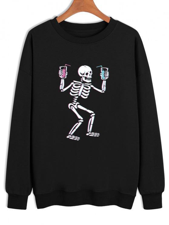 Skeleton Drinking Print Drop Shoulder Sweatshirt - Preto XL